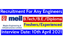 MEIL Recruitment For Any Engineers Interview Date 10th April 2021