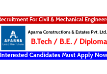 Aparna Constructions Recruitment For Civil & Mechanical Engineers Interested Candidates Must Apply Now