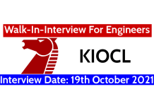 KIOCL Walk-In Interview For Engineers Interview Date 19th October 2021