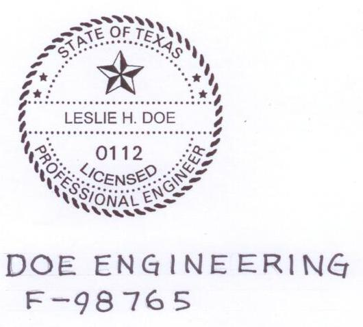 Firm Name and Number on Engineering Work