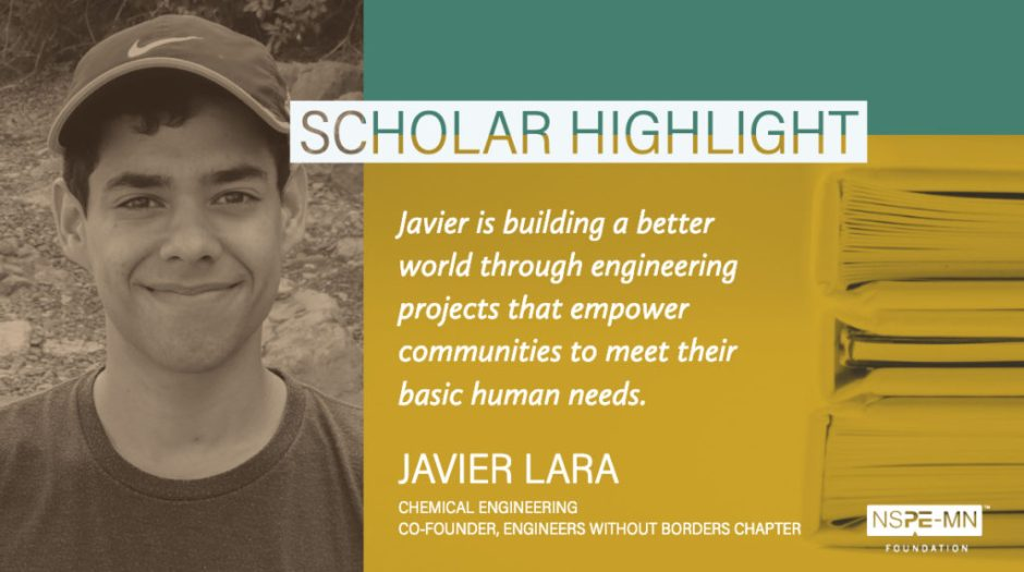 An image highlighting scholarship recipient Javier Lara