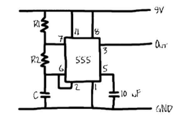 Making Astable Multivibrator using 555 Timer IC