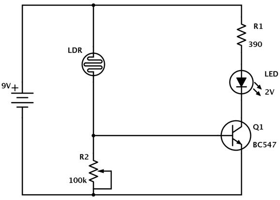 Making a Light Detector using LDR Circuit Diagram