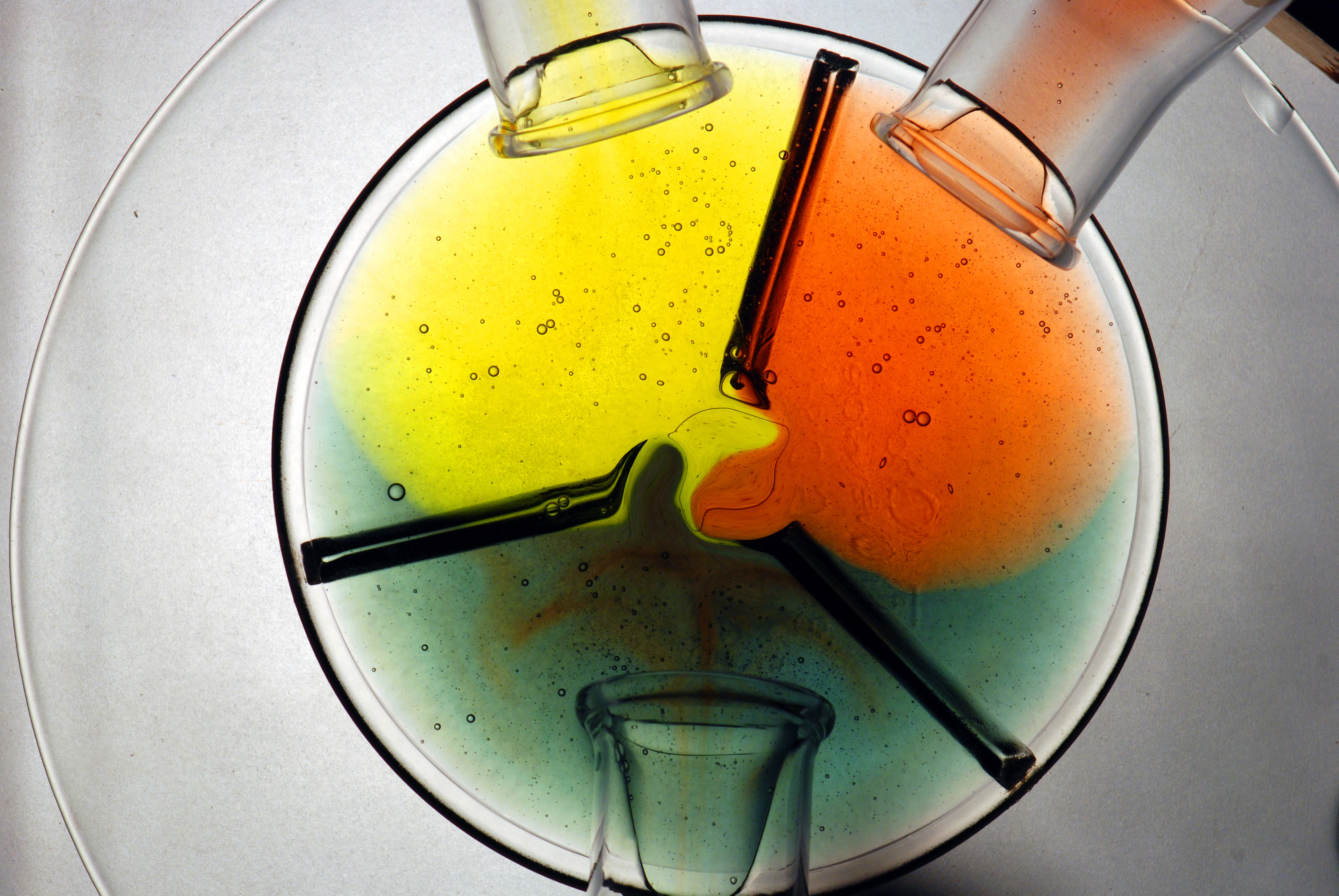 Mixing chemicals of different colors