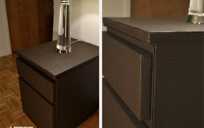 DIY upholstered wood filing cabinet