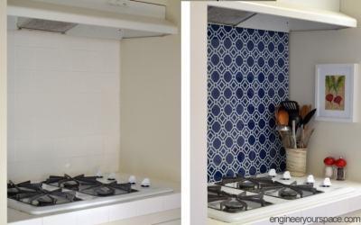 DIY Temporary Kitchen Backsplash
