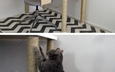 IKEA desk hack: scratching post legs