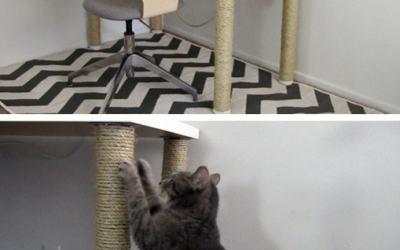 IKEA desk hack: scratching post legs