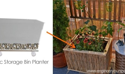 DIY plastic storage bin planter