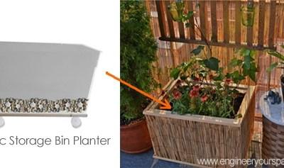 DIY plastic storage bin planter