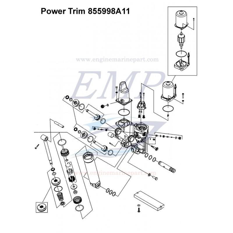 Power trim completo 855998A11, 8M0143219 Mercury, Mariner