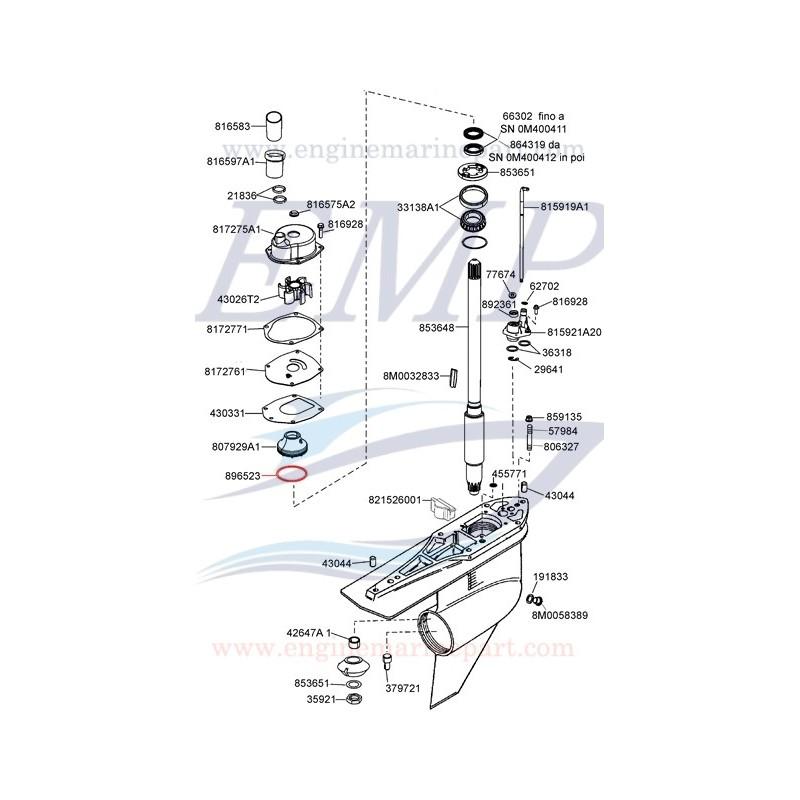 Oring portante corpo pompa Mercury, Mariner e Mercruiser