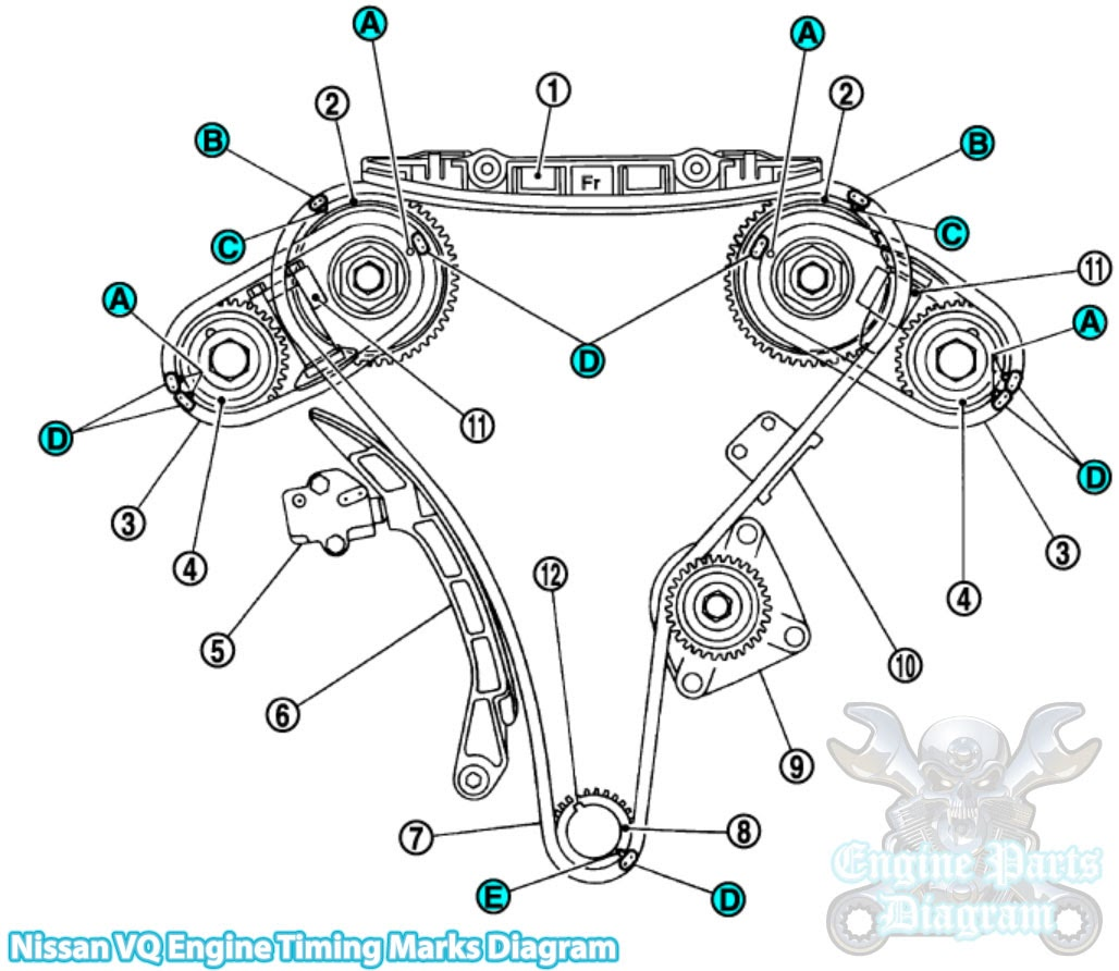hight resolution of camshaft sprocket exh 5 timing chain tensioner primary 6 slack guide 7 timing chain primary 8 crankshaft sprocket 9 water pump 10 tension guide