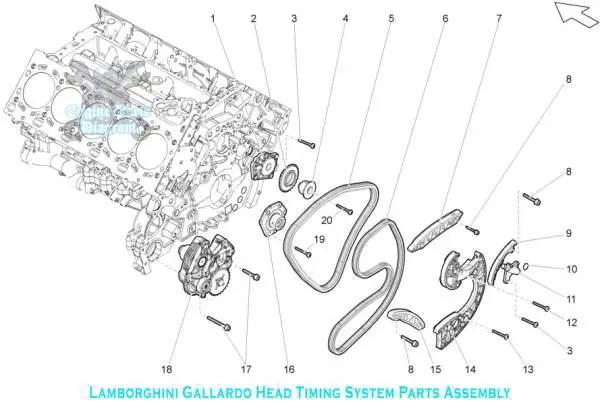Lamborghini Gallardo Engine Head Timing System Part Assembly