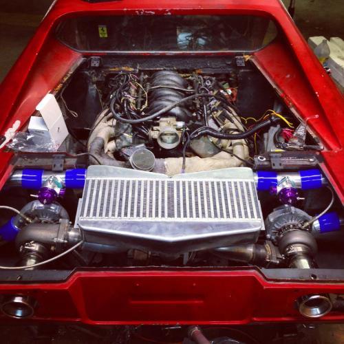 small resolution of twin turbo 4 8l iron block chevy v8 inside a 1976 ferrari dino