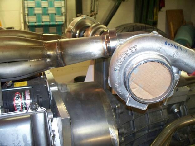 two Garrett GTX-3076 turbochargers being mocked up for Toyota V12