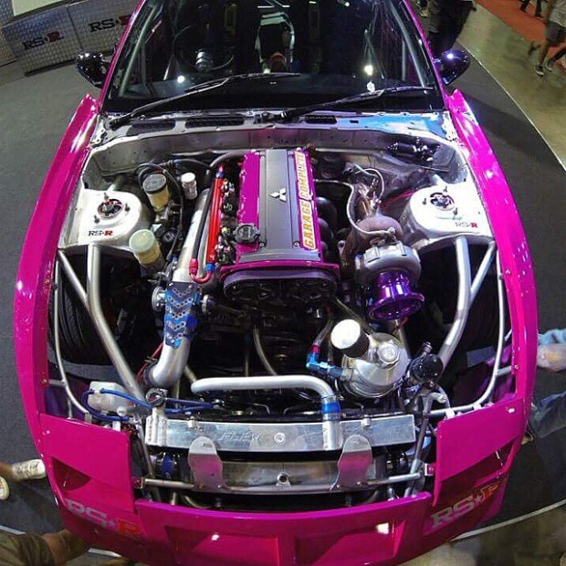 Nissan 200SX with a turbocharged 2.0 L 4G63 inline-four