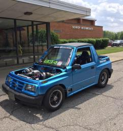 vinnie barbone s 1995 geo tracker called project samsquanch is probably the fastest mini suv on earth power comes from a blueprint engines chevy 454 ci  [ 960 x 960 Pixel ]