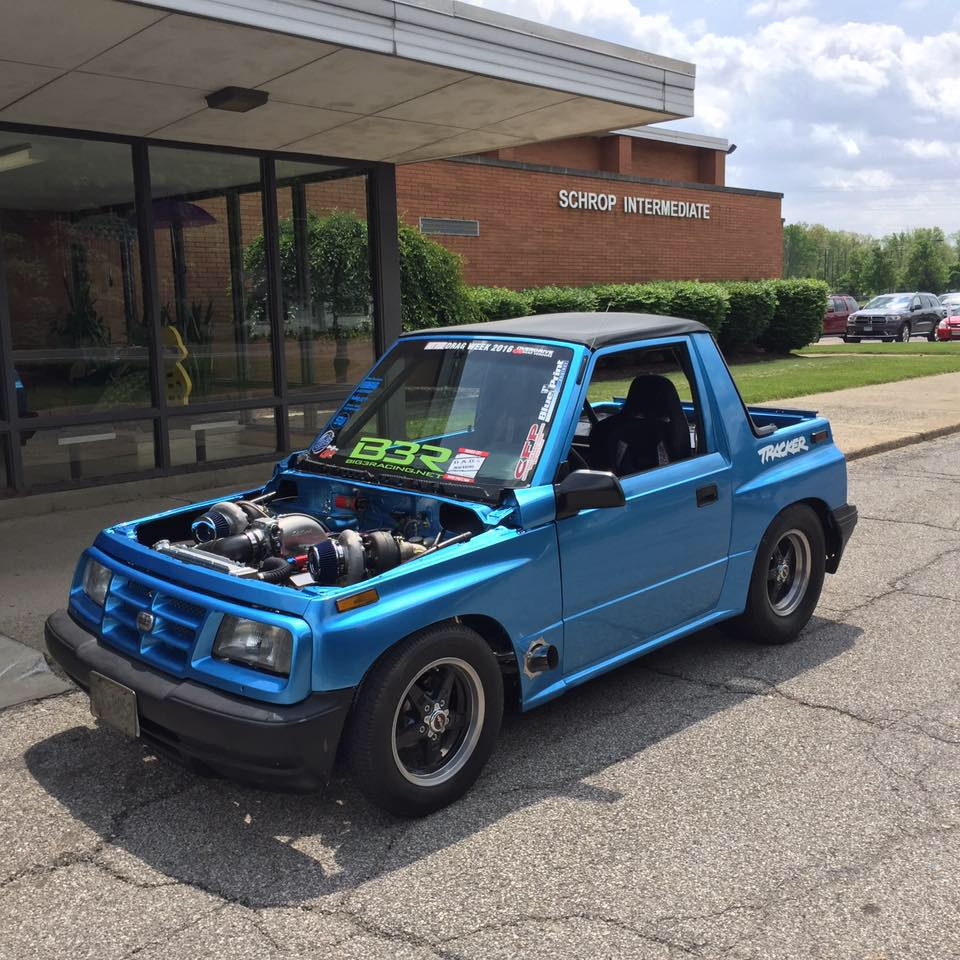 hight resolution of vinnie barbone s 1995 geo tracker called project samsquanch is probably the fastest mini suv on earth power comes from a blueprint engines chevy 454 ci