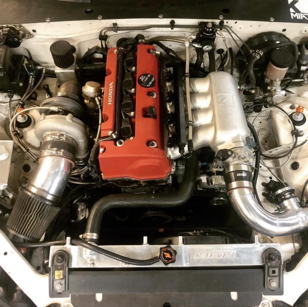 2001 Miata with a turbo K20 inline-four