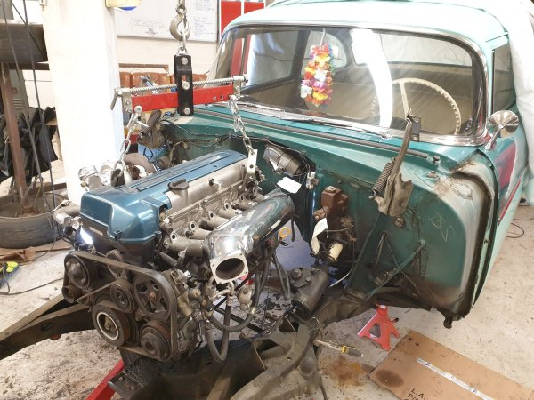 1956 Chevy 150 with a turbo 2JZ inline-six