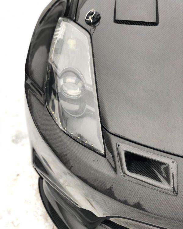 carbon fiber hood on a Nissan 350Z with a LS3 V8