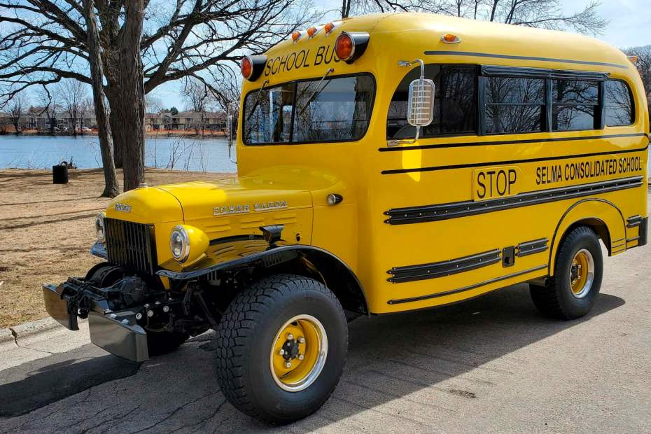 1950 Dodge Power Wagon school bus with a supercharged Hellcat V8