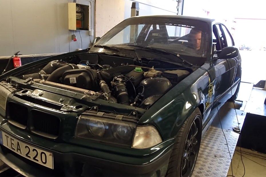 BMW E36 with a turbo Volvo B5244S4 inline-five on the dyno