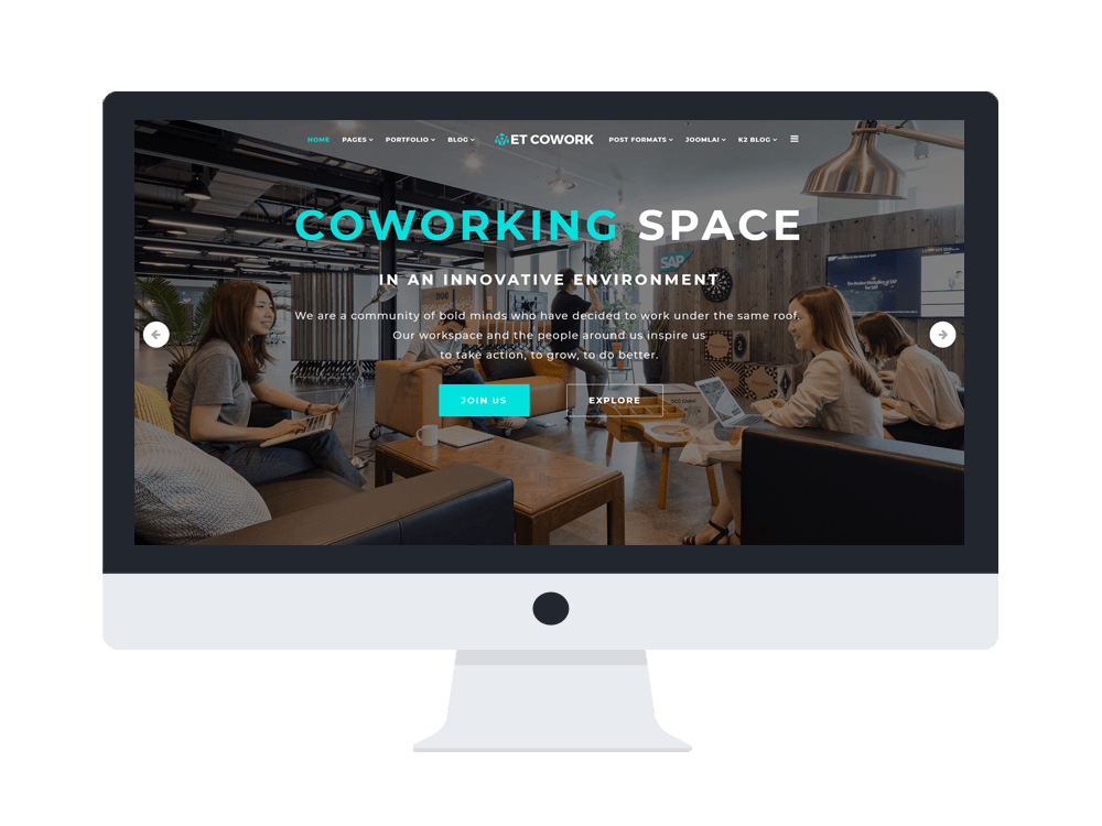 ET Cowork Free Responsive Coworking Space Website Template Engine Templates