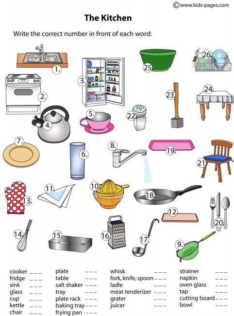 Kitchen Utensils Esl List