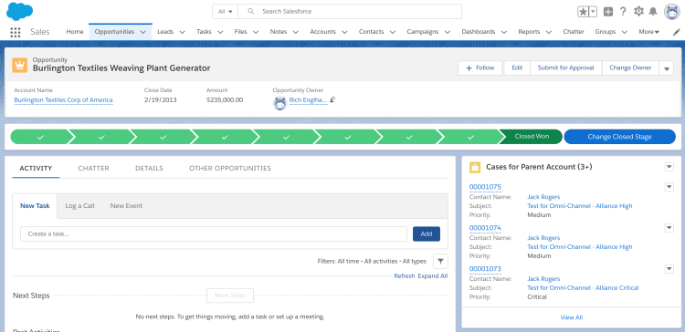 Salesforce Lightning Record Page - Opportunity with Account Cases