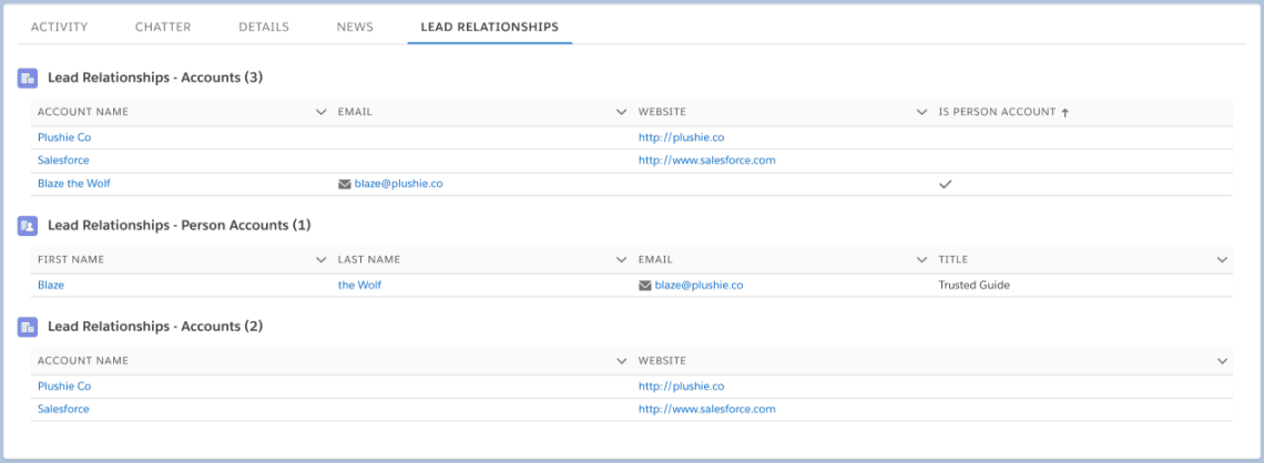 Lead Relationships Sort and Person Account