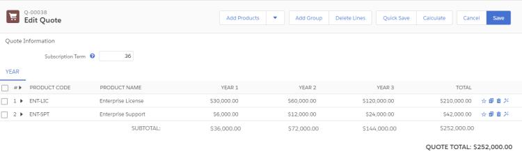 Salesforce CPQ MDQ Edit Lines Screen