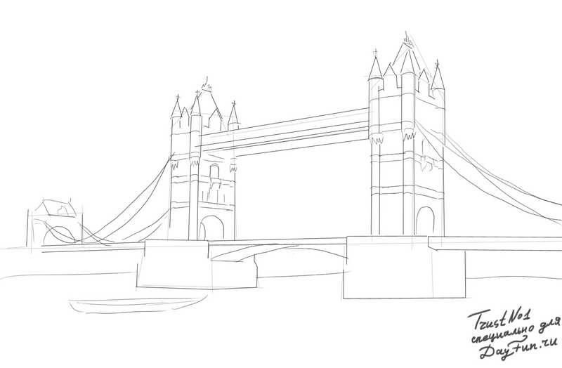 How to draw Tower Bridge on paper with a pencil step by step