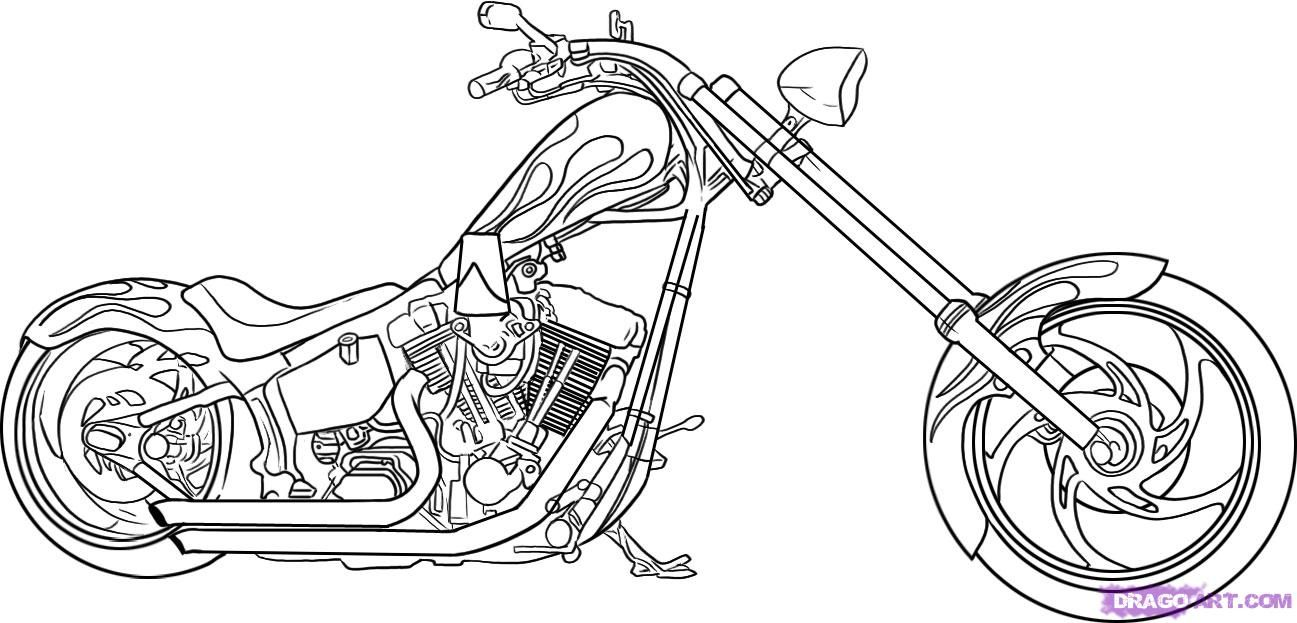 How to draw the motorcycle, a bike (Harley-Davidson) step