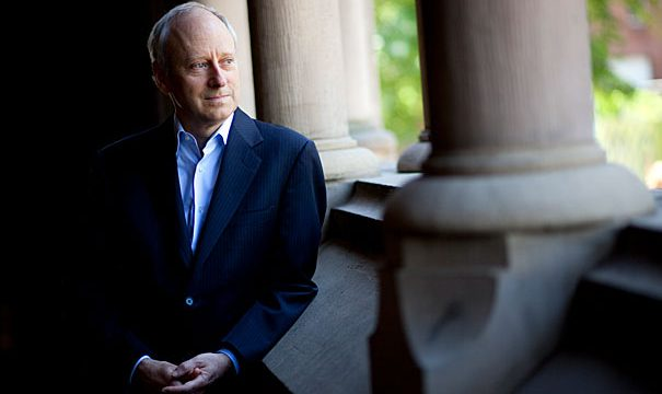 """Michael Sandel, Anne T. and Robert M. Bass Professor of Government, speaks about his latest book, """"What Money Can't Buy: The Moral Limits of Markets"""" for a Harvard Bound piece in the Harvard Gazette. Michael Sandel is pictured inside Memorial Hall at Harvard University. Stephanie Mitchell/Harvard Staff Photographer"""