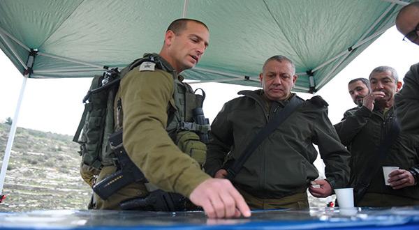 "IOF Chief of Staff Lt. Gen. Gadi Eisenkot and Col. Gilad Amit, commander of the ""Israeli"" ""Samaria Brigade"""