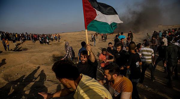 Palestinian protesters in Gaza