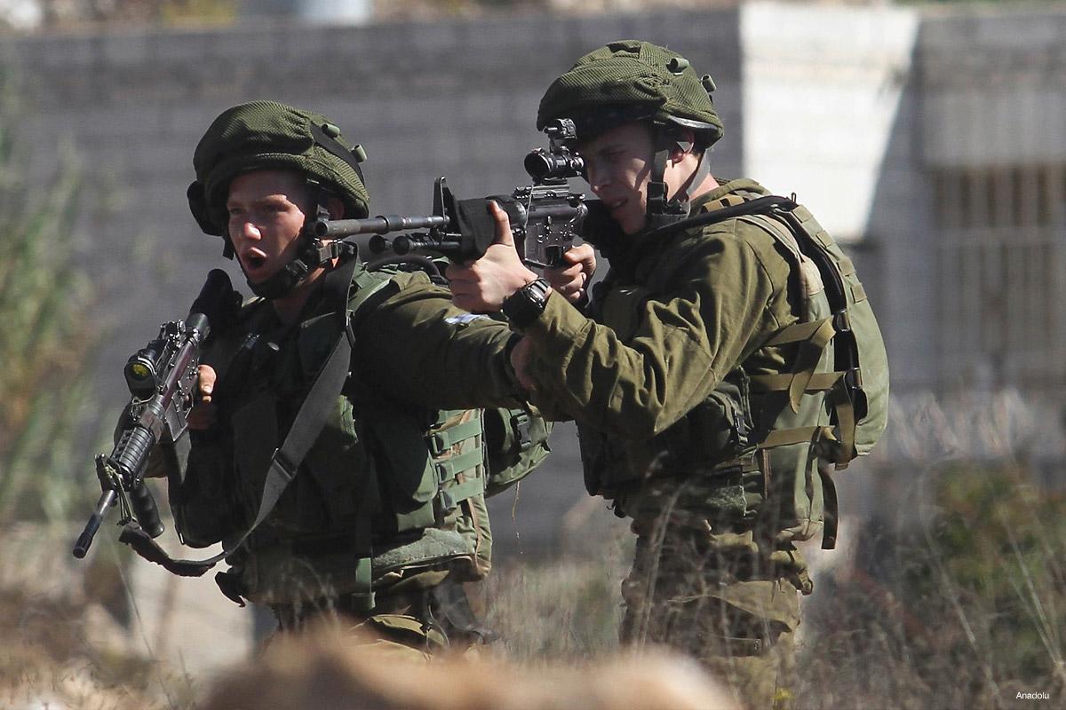 Israeli occupation soldiers shooting