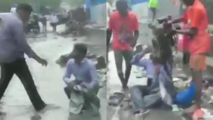 Mumbai rains: Shiv Sena MLA Dilip Lande makes contractor sit on waterlogged  road, asks workers to dump garbage on him - Watch | Mumbai News | Zee News