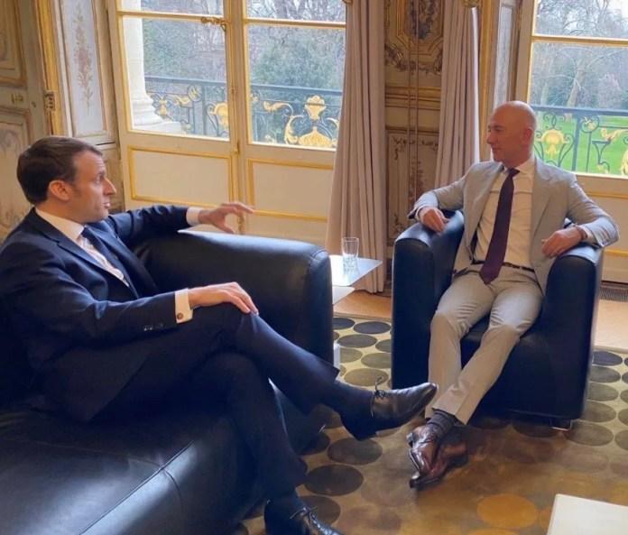 Jeff Bezos with French President Emmanuel Macron