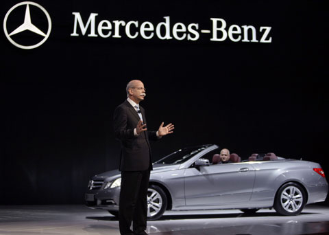 Mercedes-Benz CEO Dieter Zetsche presents the German  carmakers strategic model for this year at the Beijing Motor Show on  Saturday. /Reuters-Newsis