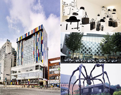 The IP Boutique Hotel (left), Comme des Garçons (top two right) and the Leeum.