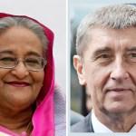Czech premier greets Sheikh Hasina