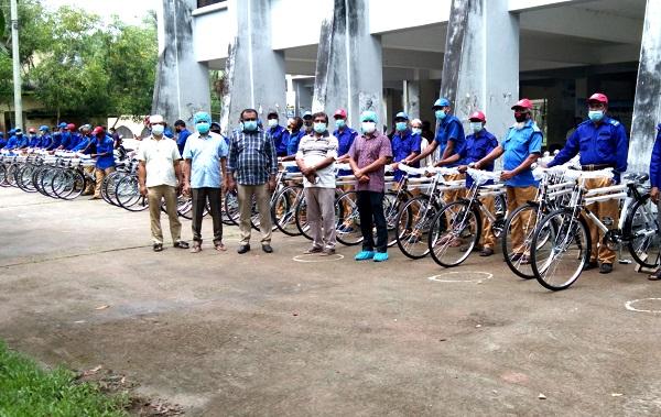 Village police members get bicycles