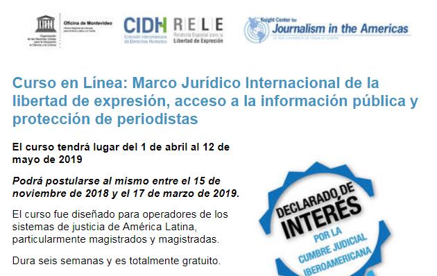 5to. Curso en línea Marco Jurídico Internacional de la #LibertaddeExpresión, Acceso a la Información Pública y Protección de Periodistas