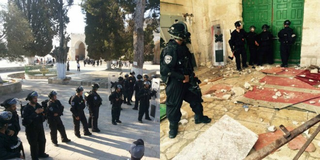 Israeli police private units break into, severely assault  Al-Aqsa mosque Sunday morning