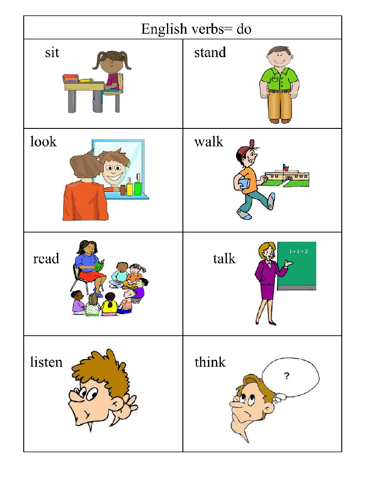 hight resolution of Verbs\u003d doing words   English 4 Me 2