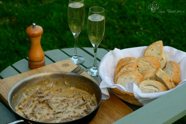 Beef Stroganoff ready to eat, cooked outdoors on a Finnish Stove © Sue Todd 2014