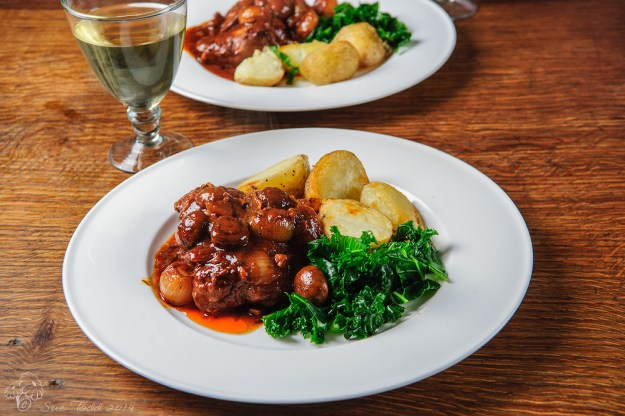 Chicken chasseur for two people. © Sue Todd 2014